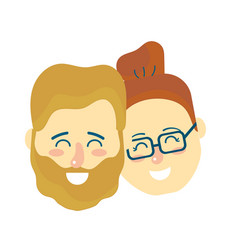 avatar couple head with hairstyle design vector image