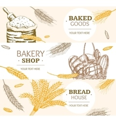 Bakery banner horizontal hand draw sketch vector