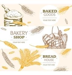 Bakery Banner Horizontal Hand Draw Sketch vector image vector image