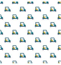 Blue golf cart pattern vector