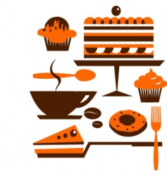 cakes and pastries vector image vector image