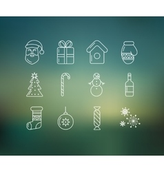 Christmas icons on soft colored abstract vector image