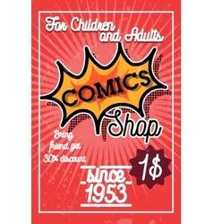 Color vintage comics shop banner vector image vector image