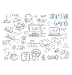 Computer games doodles icon set vector image