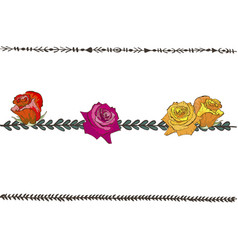Doodle floral line with colorful roses flower vector