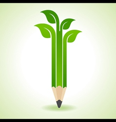Ecology concept - pencil with leaf vector