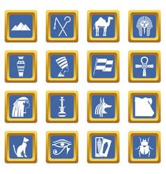Egypt travel items icons set blue vector