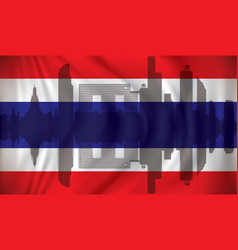 Flag of thailand with bangkok skyline vector