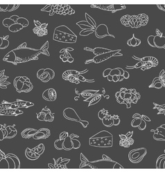 Food hand drawn icons seamless pattern vector