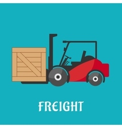 Freight delivery flat icon with forklift truck vector