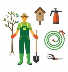 Garden equipment flat set vector