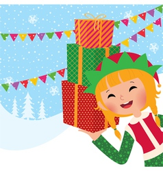 Girl christmas elf with gifts vector