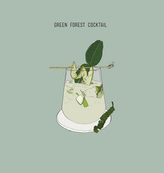 green forest cocktail sketch vector image