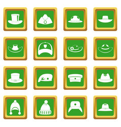 Headdress hat icons set green vector