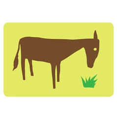 horse eating grass vector image