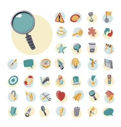 icons vintage set flat user interface vector image vector image