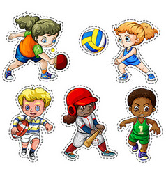 Kids playing different types of sports vector image vector image