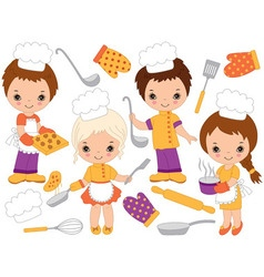 Little chefs set vector