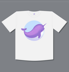 Logo whale narwhal t shirt print vector