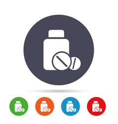 Medical tablets bottle sign icon drugs symbol vector