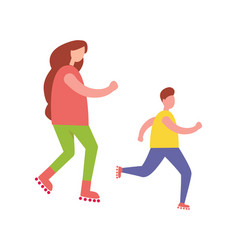 Mother and son rollerblading isolated vector
