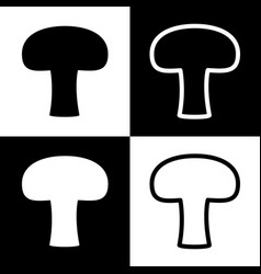 Mushroom simple sign black and white vector