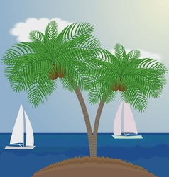 palm trees on sea background with sailboats vector image vector image