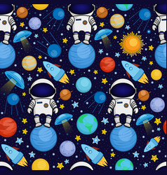 seamless cartoon space pattern vector image