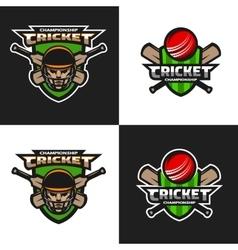 Set of cricket sports emblem vector image vector image