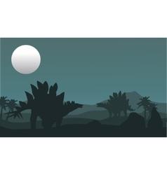 Stegosaurus and moon silhouette vector