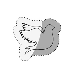 Sticker of silhouette fly bird shading vector