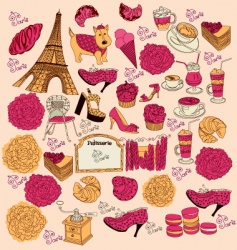 Symbols of paris vector