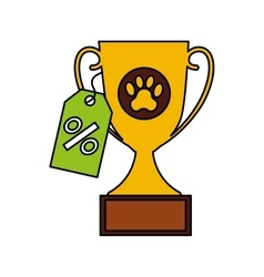 Trophy first place pet isolated icon vector