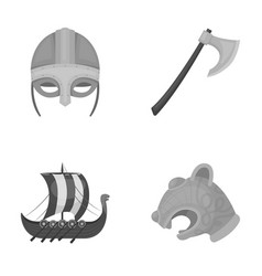 Viking helmet battle ax rook on oars with vector