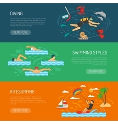 Water sport horizontal banners vector
