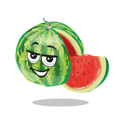 watermelon character with slice vector image vector image