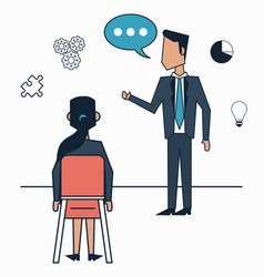 White background with strategy business meeting vector