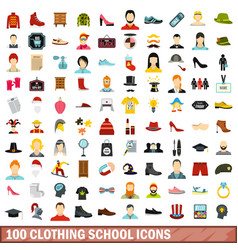 100 clothing school icons set flat style vector image vector image