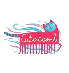 Cat and comb humorous cartoon design catacomb vector