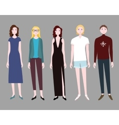 Five women flat collection vector