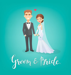 Cartoon bride and groom  this vector