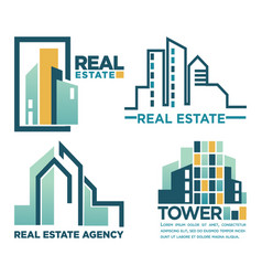 Real estate agency emblem with skyscrapers vector
