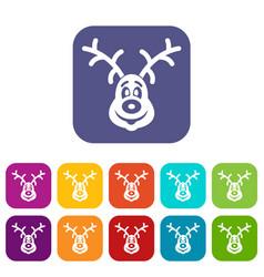 christmas deer icons set vector image