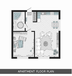 architectural plan with furniture in top view vector image