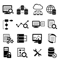 Big data cloud computing icons vector