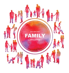 Frame with family silhouettes and watercolor effec vector image