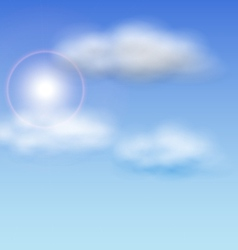 Blue sky with sunlight and fluffy clouds vector
