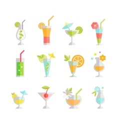 Alcoholic cocktails isolated on white background vector