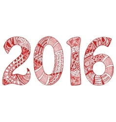 Red 2016 with hand-drawn pattern vector