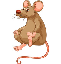 Little mouse with brown fur vector